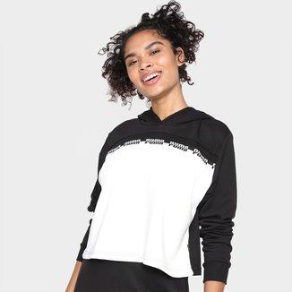 Camiseta Puma Cropped C/ Capuz Manga Longa Feminina
