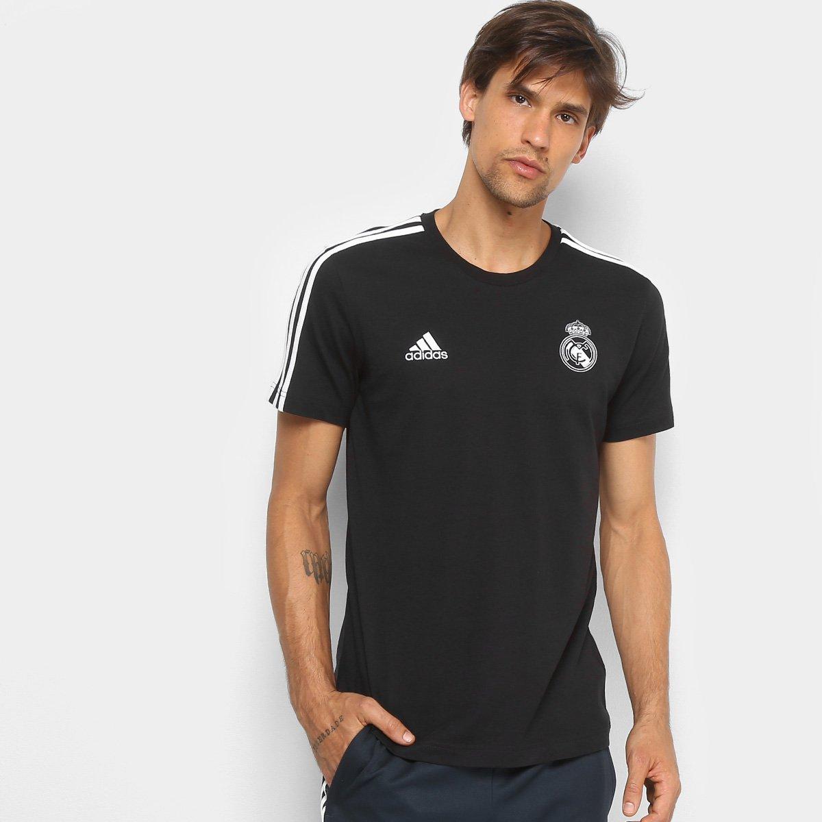 73fd71775b Camiseta Real Madrid 3Stripes Adidas Masculina - Preto e Branco ...
