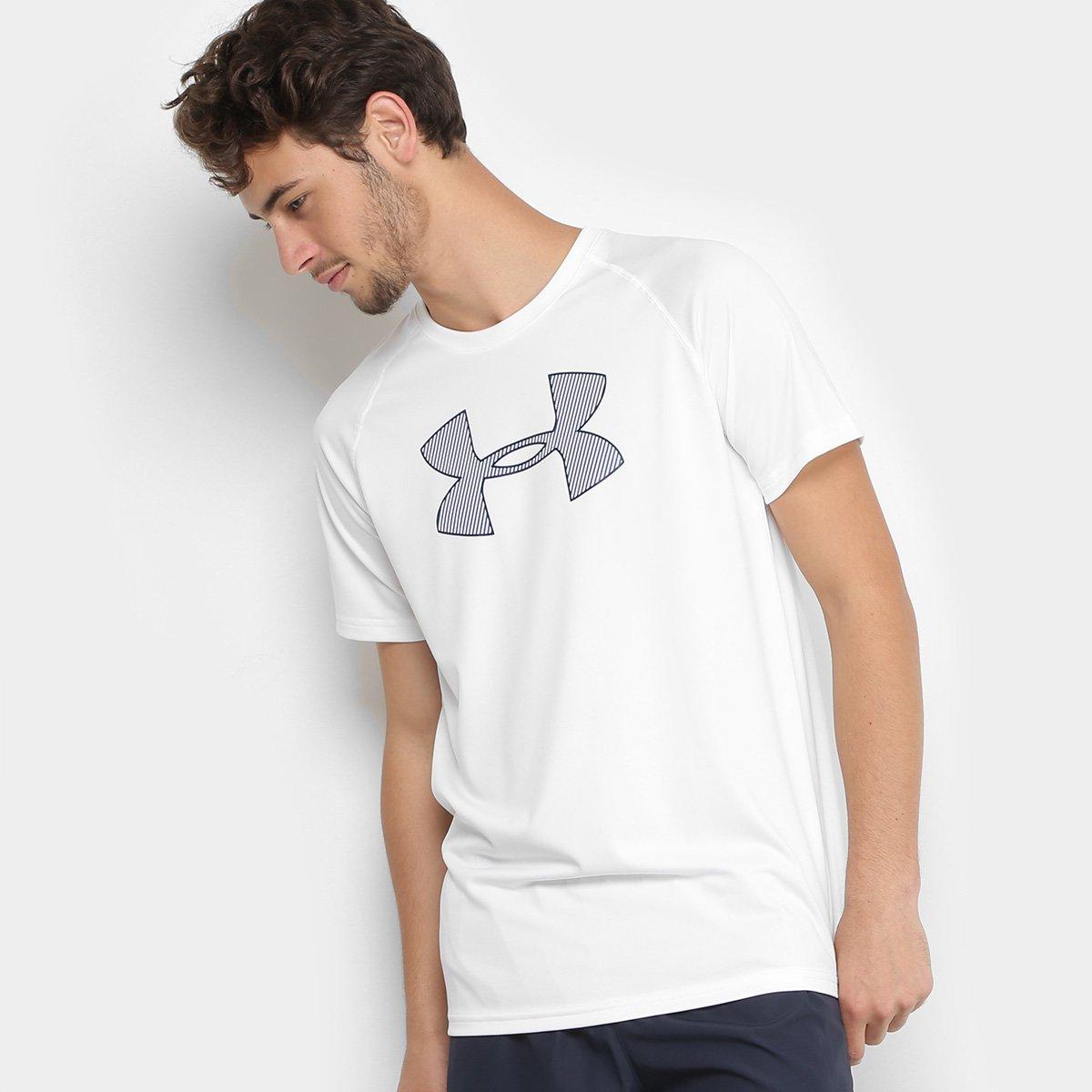 40777a0f5c9 Camiseta Under Armour Big Logo Masculina - Branco e Azul - Compre Agora
