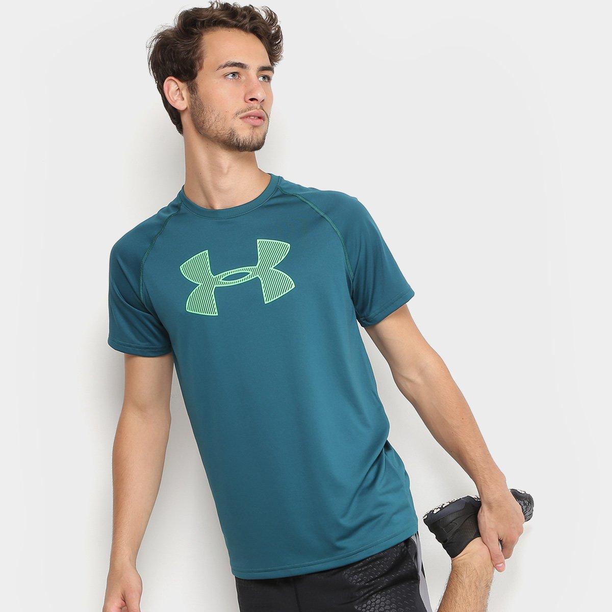 fd179e9feb5 Camiseta Under Armour Big Logo Masculina - Verde - Compre Agora ...