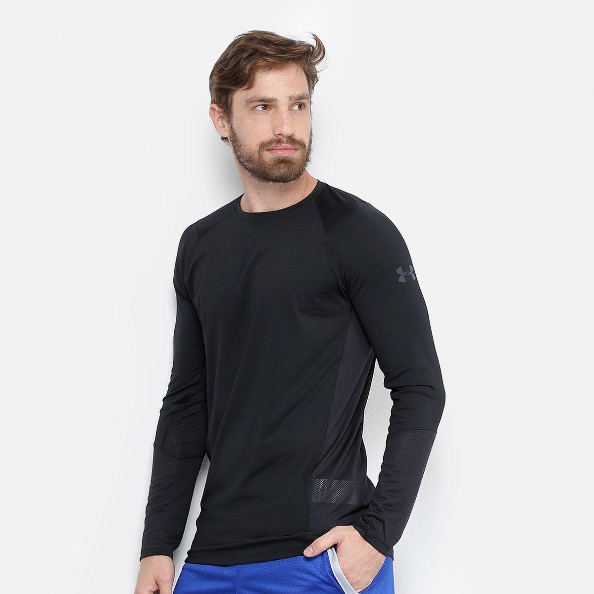 a656b4b9097 Camiseta Under Armour MK1 LS Manga Longa Masculina - Preto e Cinza - Compre  Agora