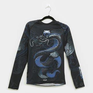 Camiseta Venum Rashguard Dragon Force Navy Manga Longa Masculina