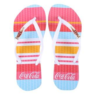 Chinelo Coca Cola Colored Lines Feminino