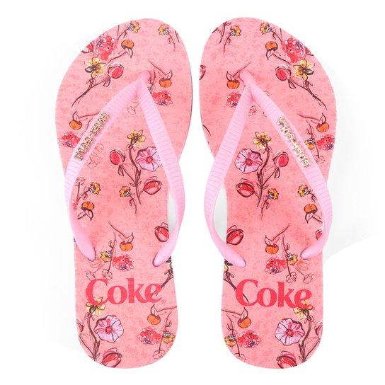 Chinelo Coca-Cola Floral Connection Feminino - Rosa Claro