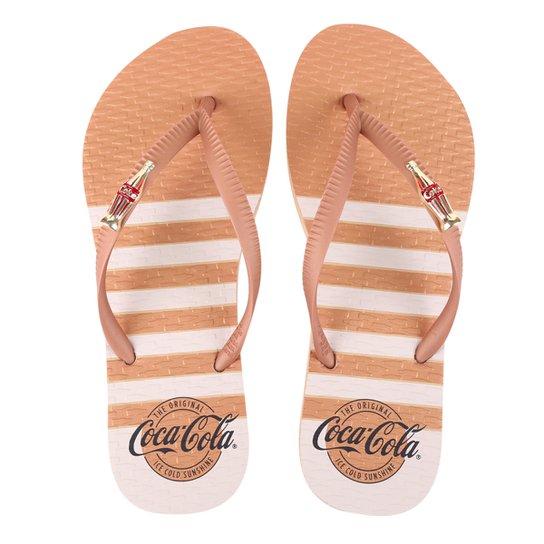 Chinelo Coca Cola Metallic Straps Feminino - Bege