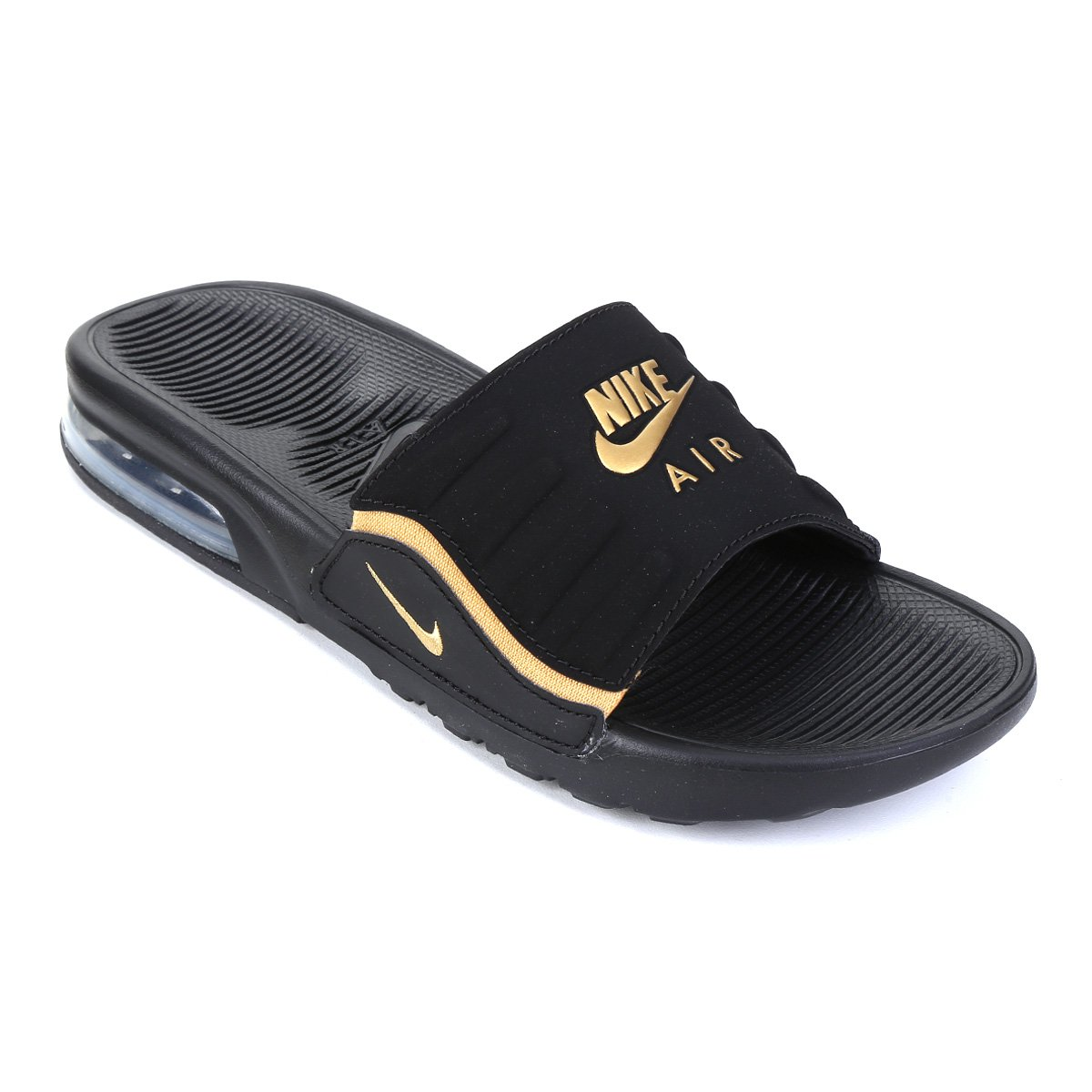 Chinelo Nike Air Max Camden Slide Feminino Preto E Dourado