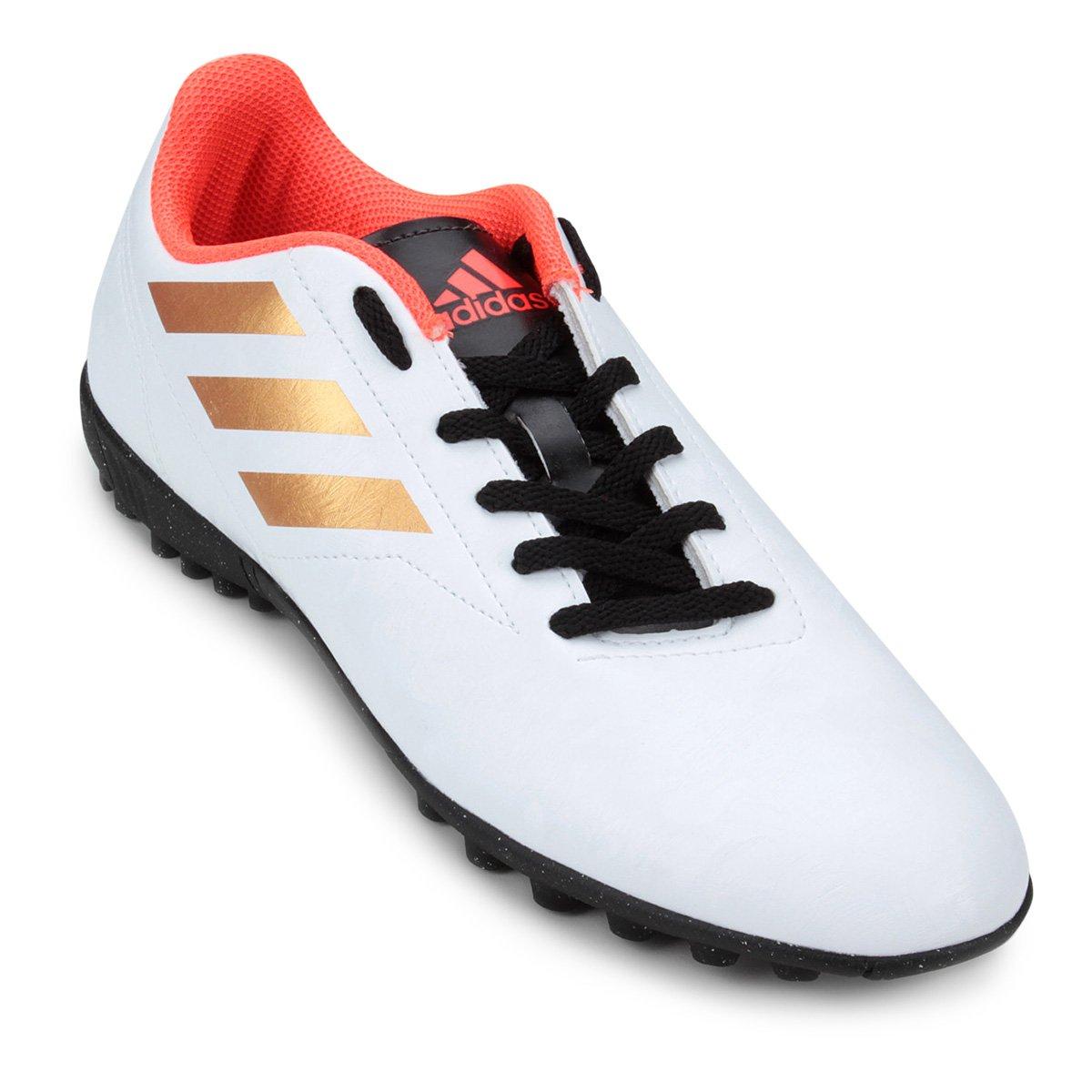 73adf66d11 Chuteira Adidas Conquisto II Society TF - Branco e Laranja