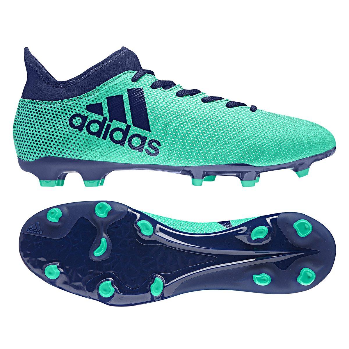 ... chuteira campo adidas x 17.3 fxg masculina verde e azul 37590aa865729