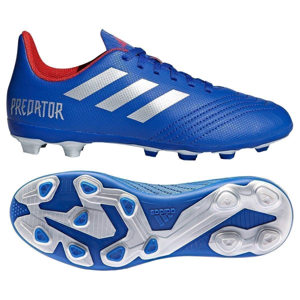 85702d640d Chuteira Campo Infantil Adidas Predator 19 4 FG - Azul e Prata | Allianz  Parque Shop