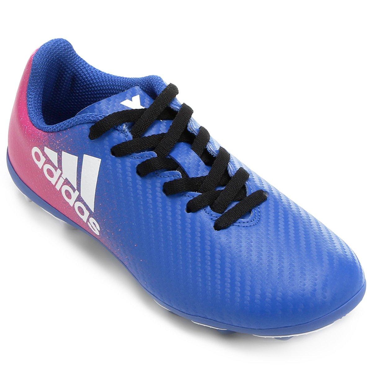 5cc847f14f Chuteira Campo Juvenil Adidas X 16 4 FXG - Azul e Pink