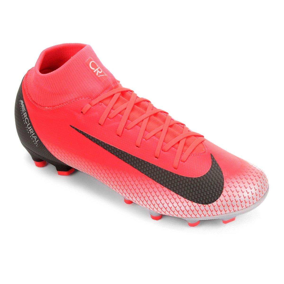 32ab4abbf5e Chuteira Campo Nike Mercurial Superfly 6 Academy CR7 FG - Vermelho e Cinza  - Compre Agora