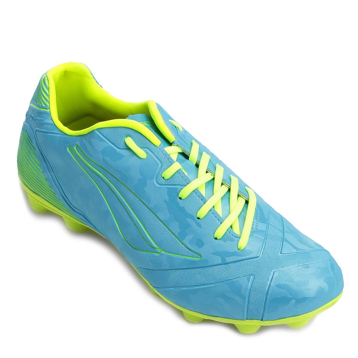b329b42238f2d Chuteira Campo Penalty Victoria RX VIII - Verde Limão e Azul - Compre Agora