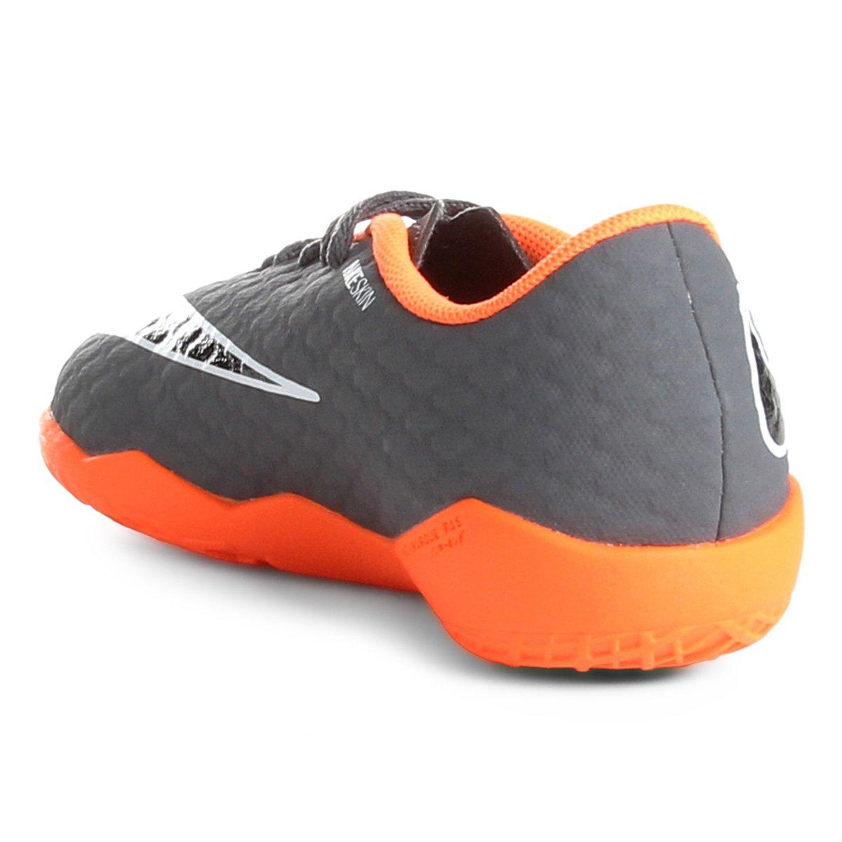 Chuteira Futsal Infantil Nike Phantom 3 Academy IC - Cinza e Laranja ... e2af1ee0b5422