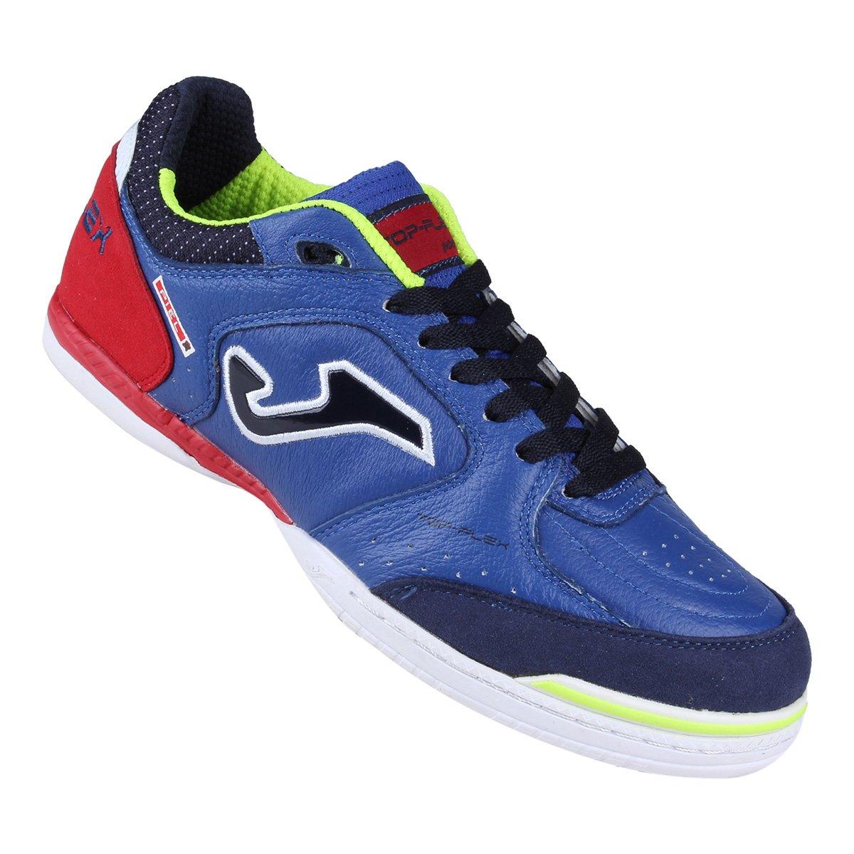 Chuteira Futsal Joma Top Flex Masculino - Azul e Vermelho - Compre ... e663f9af0c32b