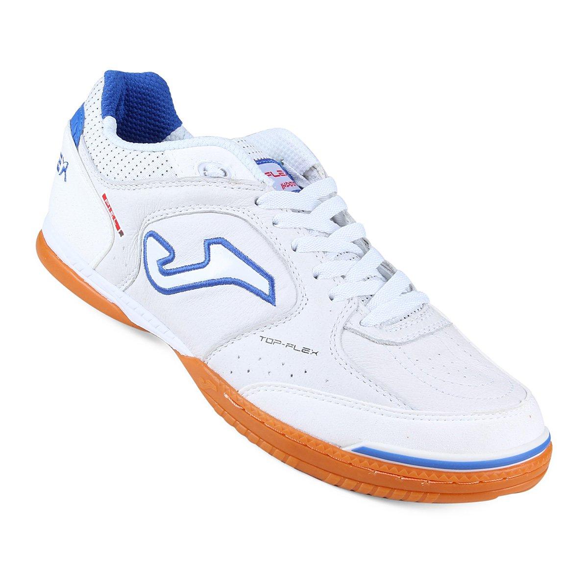 b071f0f48c Chuteira Futsal Joma Top Flex - Branco e Azul Claro - Compre Agora ...