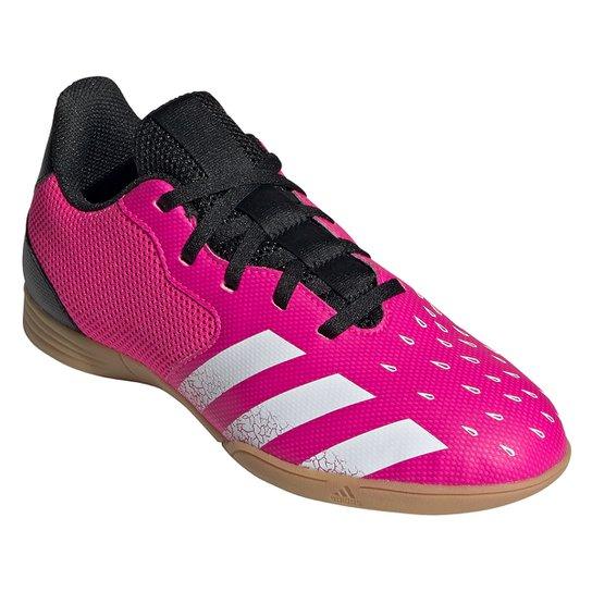 Chuteira Futsal Juvenil Adidas Predator Freak 4 - Rosa+Branco