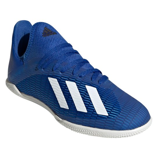 Chuteira Futsal Juvenil Adidas X 19 3 IN - Azul+Branco
