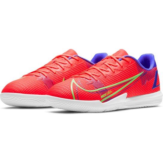 Chuteira Futsal Juvenil Nike Mercurial Vapor 14 Academy - Laranja+Cinza