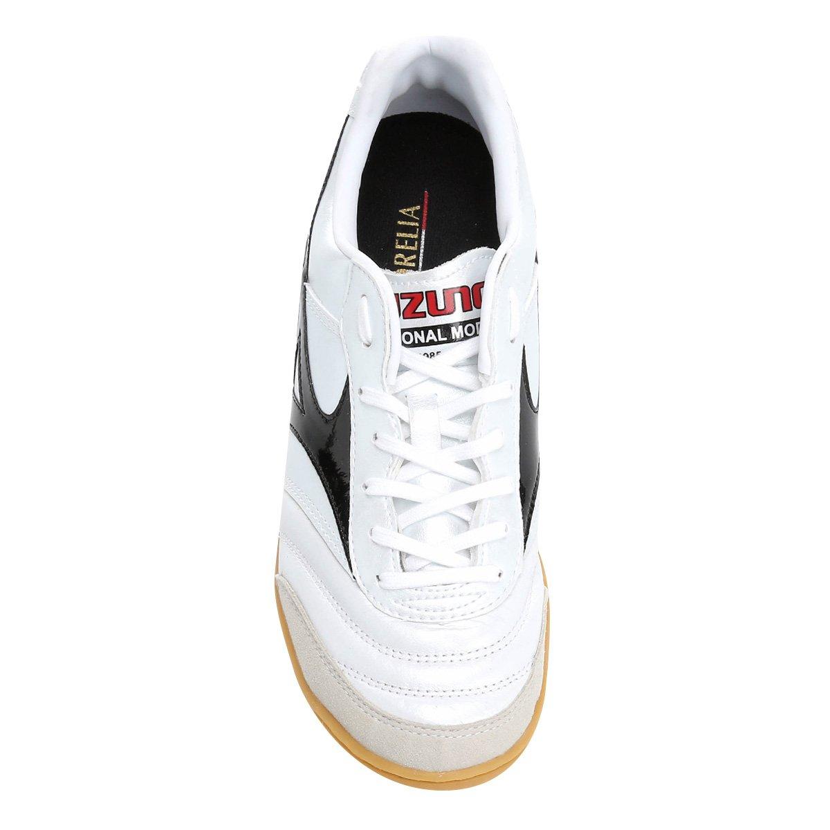 Chuteira Futsal Mizuno Morelia Elite IN 2 - Branco e Preto - Compre ... 1f473741e6738