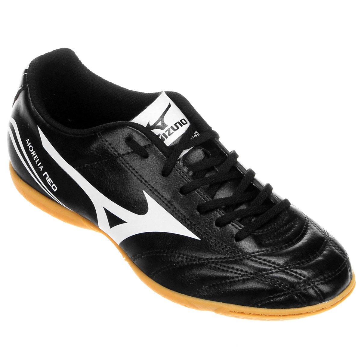 22c5b4d8beb40 Chuteira Futsal Mizuno Morelia Neo Club IN - Preto e Branco - Compre Agora