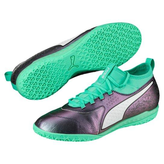 ratón consenso Borradura  Chuteira Futsal Puma One 3 IL Lth IT BDP - Cinza e Verde Água | Allianz  Parque Shop