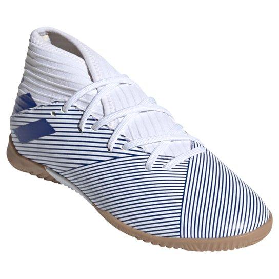 Chuteira Juvenil Futsal Nemeziz 19 3 Adidas IN - Branco+Azul