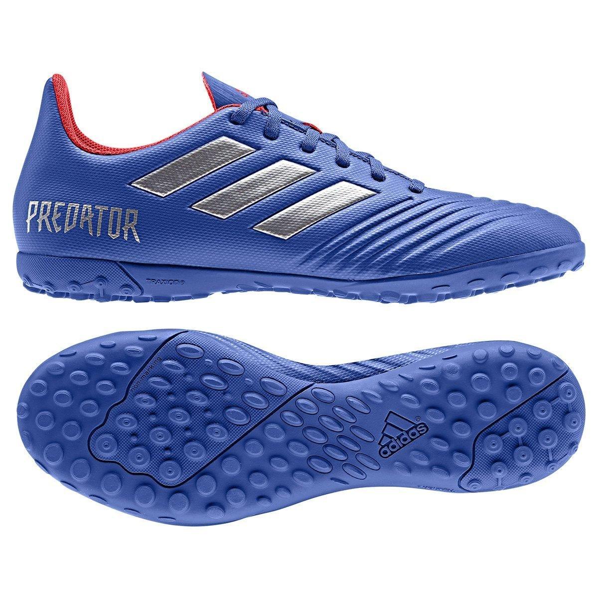 Chuteira Society Adidas Predator 19 4 TF - Azul e Prata - Compre ... 17c89b0aef226