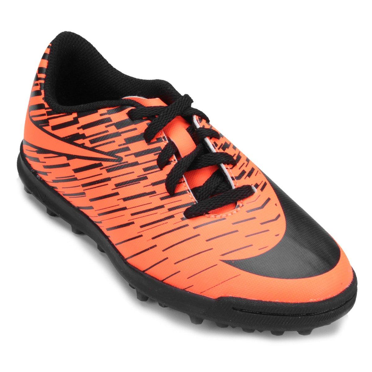 d083a0ad36 Chuteira Society Infantil Nike Bravata 2 TF - Preto e Laranja Escuro ...