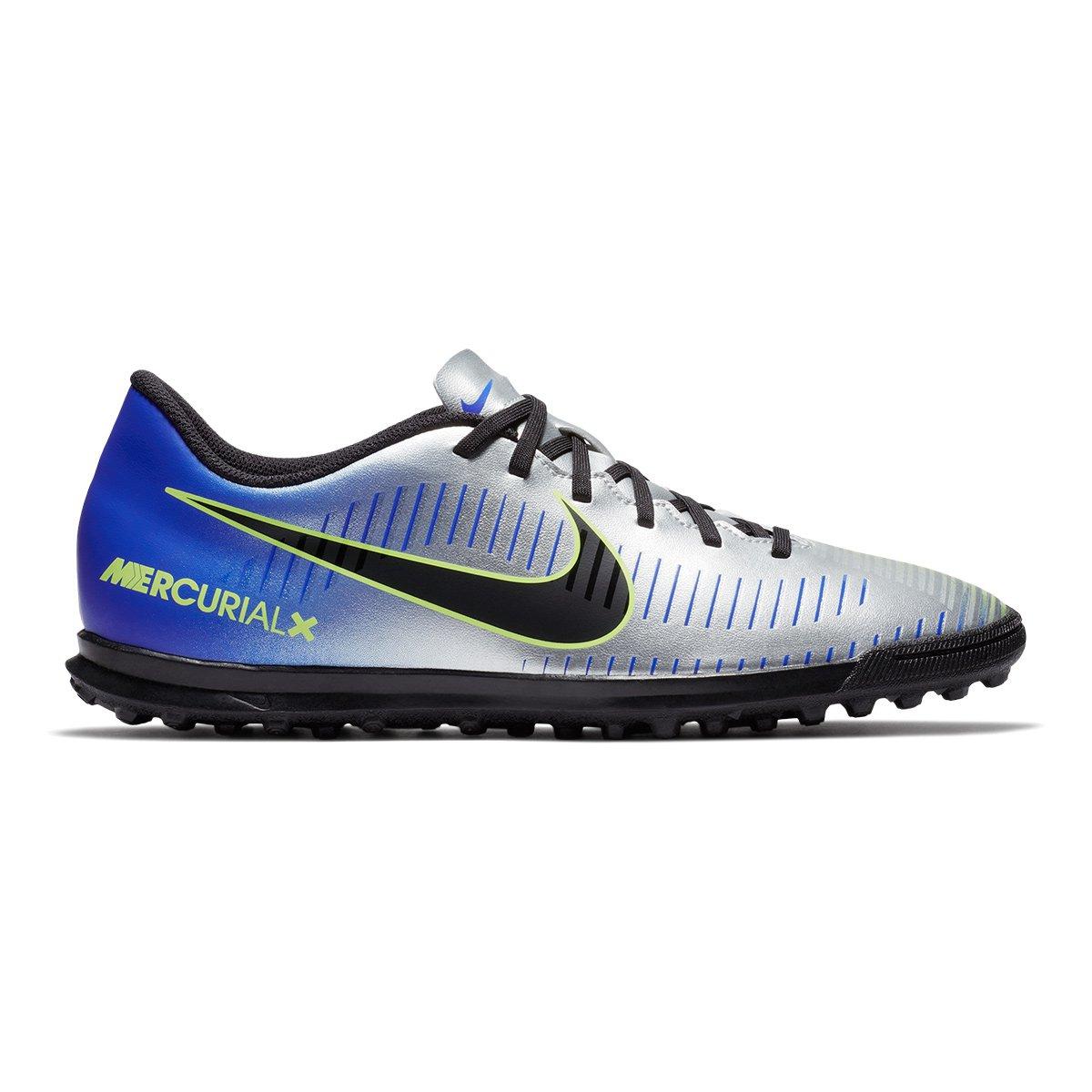 c585b25f16 Chuteira Society Nike Mercurial Vortex 3 Neymar Jr TF - Azul e Preto ...