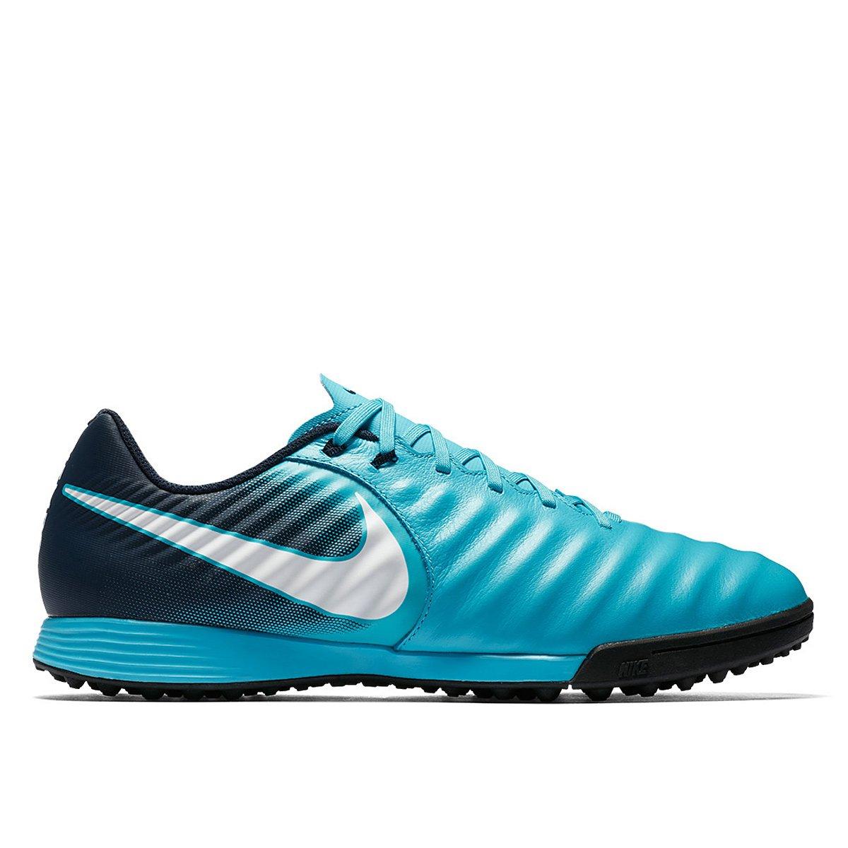 5b1b97f755ed9 Chuteira Society Nike Tiempo Ligera 4 TF - Azul e Branco | Allianz Parque  Shop