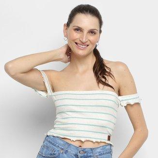 Cropped Ombro a Ombro Hang Loose Stripe Linen