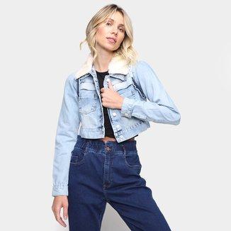 Jaqueta Jeans Naraka Cropped Pelinho Feminina