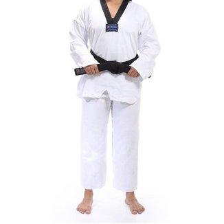 Kimono Torah Dobok Taekwondo Reforçado Gola Preta - Adulto