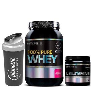 Kit 100% Pure Whey 900g + Glutamina 120g Probiótica + Coqueteleira Preta 600ml