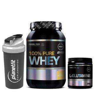 Kit 100% Pure Whey 900g + Glutamina 300g Probiótica + Coqueteleira Preta 600ml