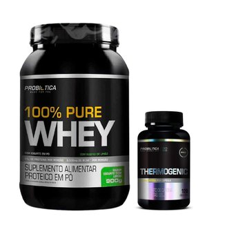 Kit 100% Pure Whey 900g + Thermogenic 120 Caps Probiótica