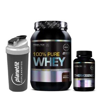 Kit 100% Pure Whey 900g + Thermogenic 120 Cápsulas Probiótica + Coqueteleira Preta 600ml