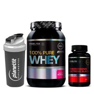 Kit 100% Pure Whey 900g + Thermogenic Extreme Black Probiótica + Coqueteleira Preta 600ml