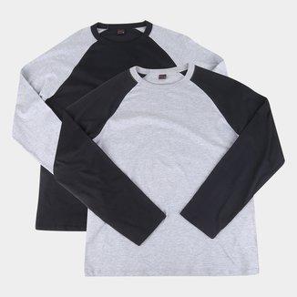Kit 2 Camisetas Manga Longa Básicos Raglan Masculina