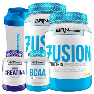 KIT 2x Fusion  900 g + BCAA + Creatina 100g + Coqueteleira - BRN