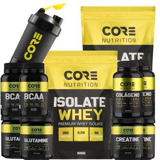 Kit 2x Isolate Whey + 2x BCAA + 2x Crea + 2x Gluta + 2x Colag + Coqueteleira Core Nutrition