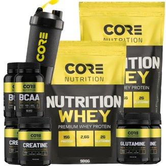 Kit 2x Nutrition Whey + 2x BCAA + 2x Crea + 2x Gluta + Shaker Core Nutrition