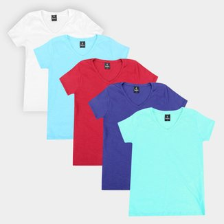 Kit Camiseta Burn Básica C/ 5 Peças Feminina