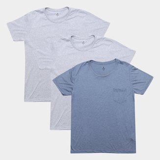 Kit Camiseta Burn Básica Melange c/ 3 Peças Masculina