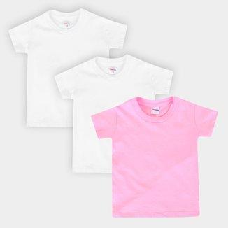 Kit Camiseta Manga Curta Bebê All Free Básica Feminina 3 Peças