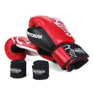 Kit Luva de Boxe/Muay Thai Pretorian Elite 14 Oz + Bandagem + Protetor Bucal