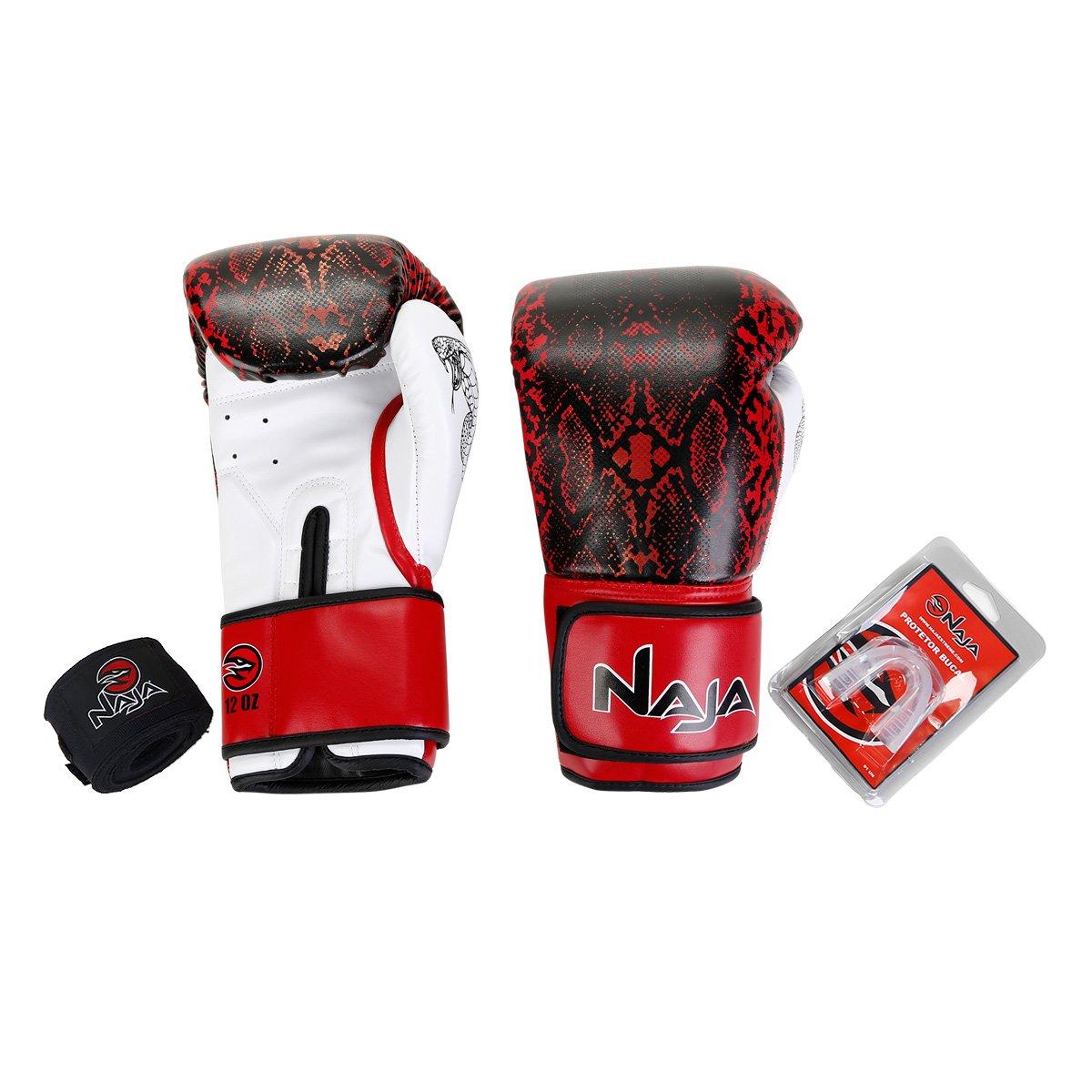 42d461526 Kit Naja Luva Boxe  Muay Thai Animal Print Cobra Luva Boxe 12 Oz + Bandagem  + Protetor Bucal - Vermelho