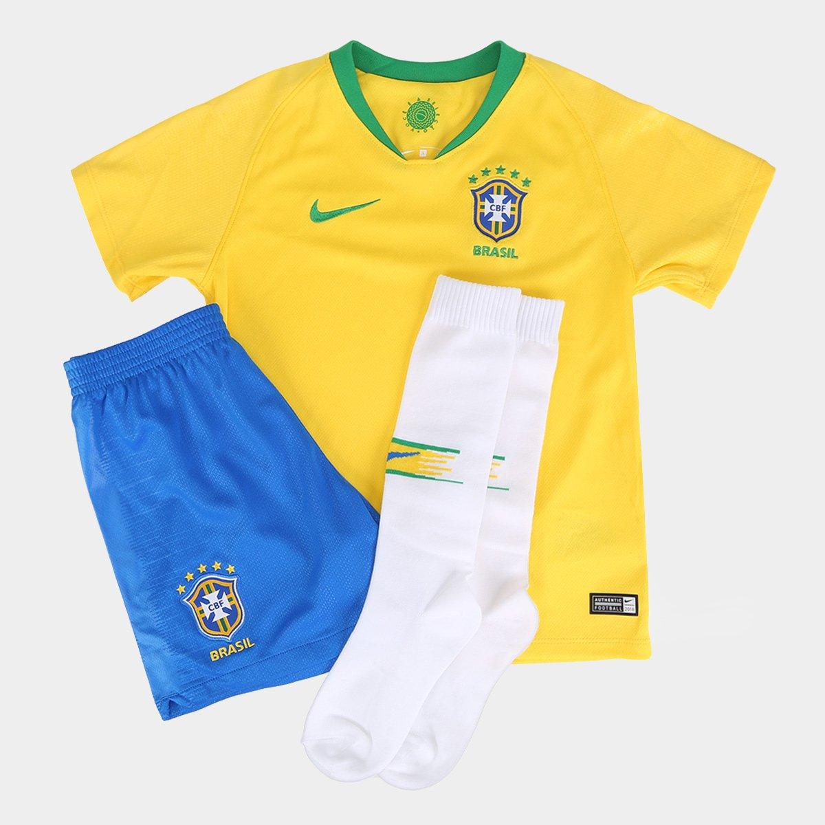 19f2e4bec6 Kit Seleção Brasil Infantil I 2018 Nike - Amarelo e Verde - Compre ...
