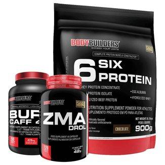 Kit Whey Protein 6 Six 900g + Zma + Pré treino Burn Caff - Bodybuilders
