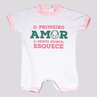 Macacão Palmeiras Primeiro Amor Branco e Rosa